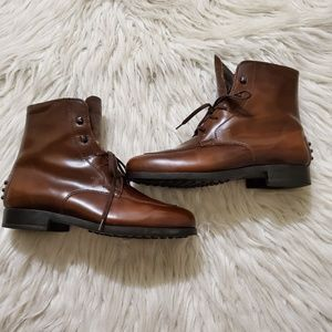 Tod's Brown Leather Lace Up Ankle Boots
